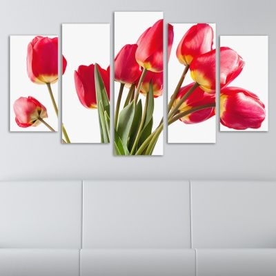 0059 Wall art decoration (set of 5 pieces) Tulips