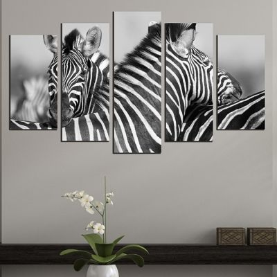 0533 Wall art decoration (set of 5 pieces) Couple zebras