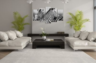 canvas wall art set couple zebras black and white