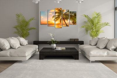 canvas wall art set exotic beach landscape