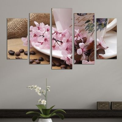 Canvas art set Composition with coffee and cherry blossom