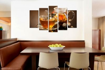 Art canvas decoration with cup of tea