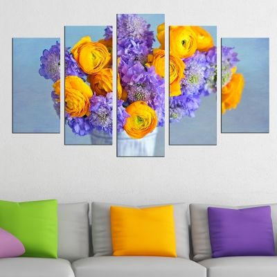 0546 Wall art decoration (set of 5 pieces) Colorful  bouquet