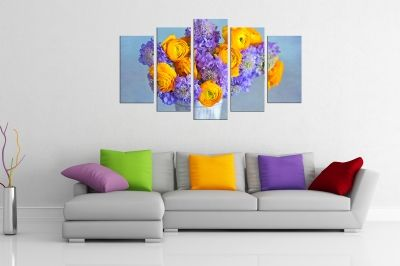 Colorful flowers canvas art set of 5 pieces
