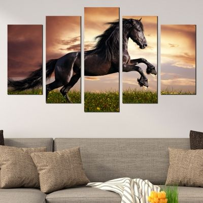 0549 Wall art decoration (set of 5 pieces) Wild horse