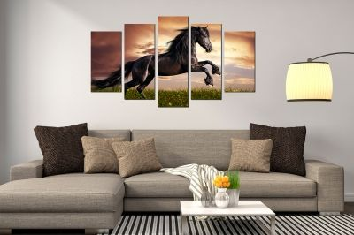 canvas wall art set Landscape with wild horse