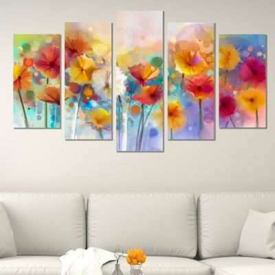 0550 Wall art decoration (set of 5 pieces) Abstract flowers
