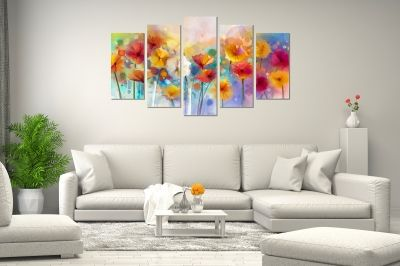 Abstract flowers jentle colors canvas art set of 5 pieces