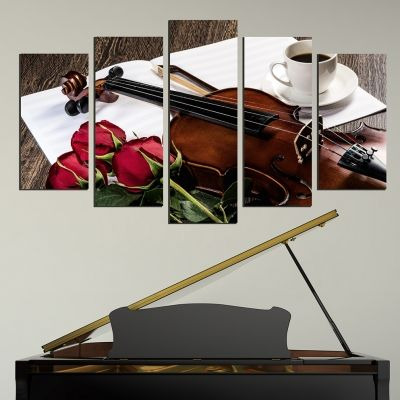 Canvas art set for home decoration composition with violin and roses