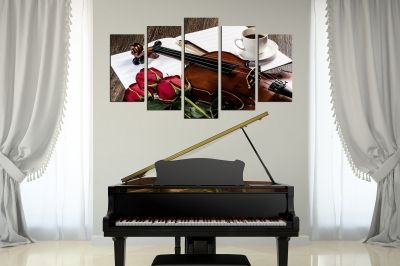 romantic composition with red roses and violin canvas wall art 5 pieces