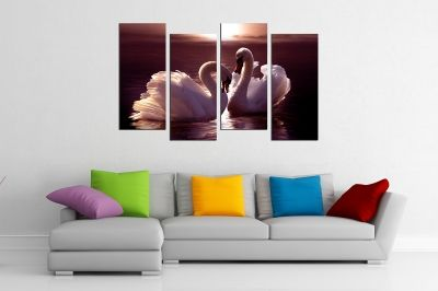 Wall  decoration canvas for bedroom couple swans