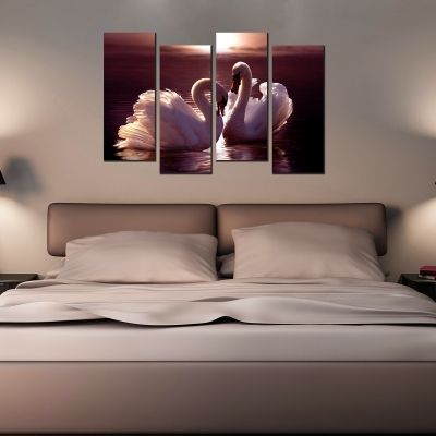 Wall art set cople swans in love suitable for bedroom