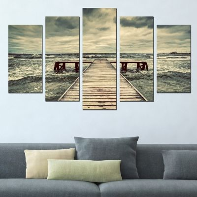 0554 Wall art decoration (set of 5 pieces)  Sea landscape with pier