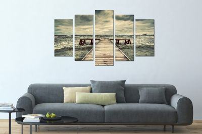 Canvas fine art decoration with sea landscape in grey
