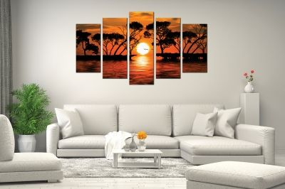 Canvas fine art decoration with sea landscape and sunset in orange