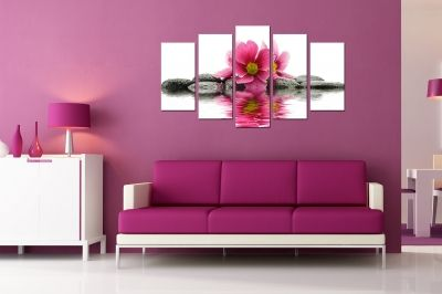 Zen canvas art composition with flower and stones