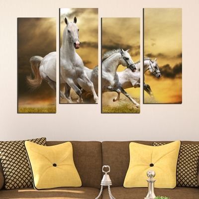 0558  Wall art decoration (set of 4 pieces) Wild horses