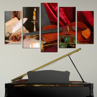 Canvas art set for home decoration composition with violin
