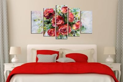 Painting canvas wall art with red roses