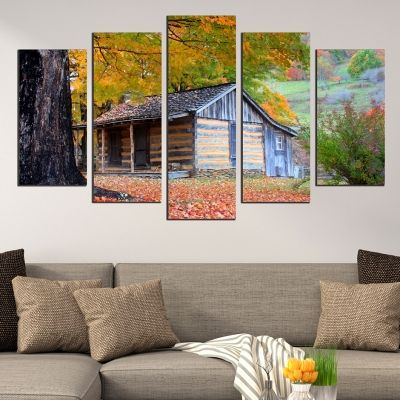 wall art canvas decoration set with house and forest