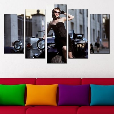 Canvas art set for decoration retro style