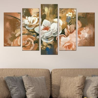 0570 Wall art decoration (set of 5 pieces) Art flowers