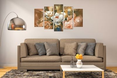 Painting canvas wall art with art flowers on brown gold background