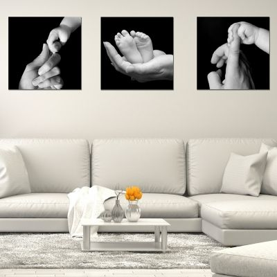 set of 3 balck and white wall decorations true love