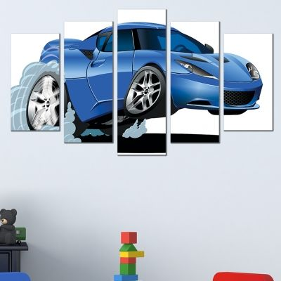 0573 Wall art decoration (set of 5 pieces) Blue car