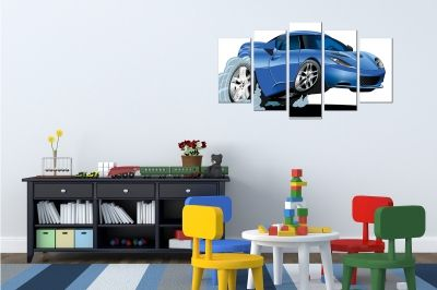 Wall art decoration for kids room with blue car