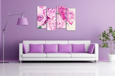 Wall art decoration vintage roses for kitchen