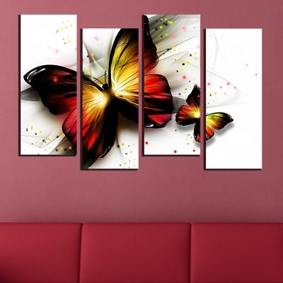 0577  Wall art decoration (set of 4 pieces) Butterflies