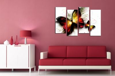 Wall art decoration (set of 4 pieces) Butterflies abstract