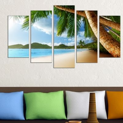 0578 Wall art decoration (set of 5 pieces) Sea landscape with exotic beach