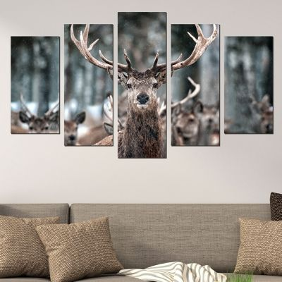 0579 Wall art decoration (set of 5 pieces) Deer