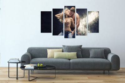 erotic art canvas decoration set with woman and man in love