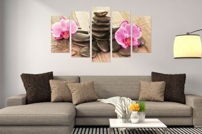 Zen canvas art composition with orchids and stones wooden background