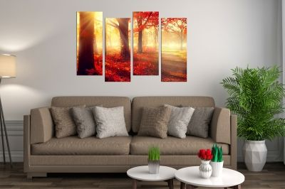 Wall  decoration for living room Landscape red autumn