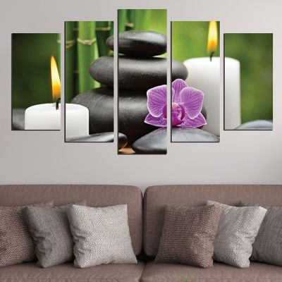 0586 Wall art decoration (set of 5 pieces) Zen composition with candles