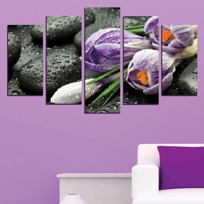 0590 Wall art decoration (set of 5 pieces) Zen composition with tulips