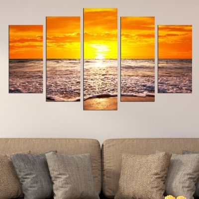 0591 Wall art decoration (set of 5 pieces)  Beautiful sunset