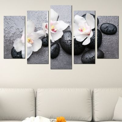 Canvas art set zen composition black white grey
