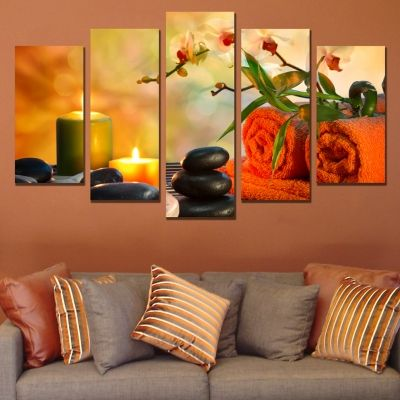 0596 Wall Art Decoration (set Of 5 Pieces) Zen Composition In Orange