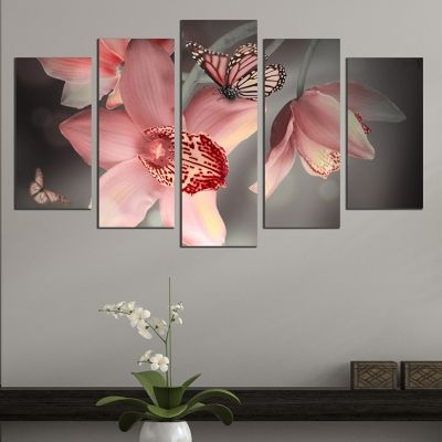 0612 Wall art decoration (set of 5 pieces) Orchids and butterflies