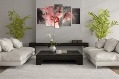 Zen canvas art composition with orchids and butterflies pink and grey