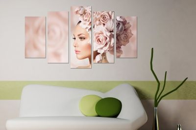 canvas art with girl with pink roses