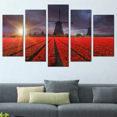 0618 Wall art decoration (set of 5 pieces) Dutch windmills