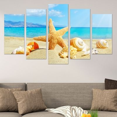 0524 Wall art decoration (set of 5 pieces) Starfish