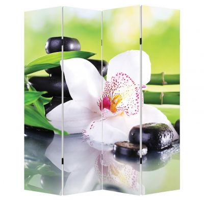 P0162 Decorative Screen Room divider  White orchid with reflection (3,4,5 or 6 panels)