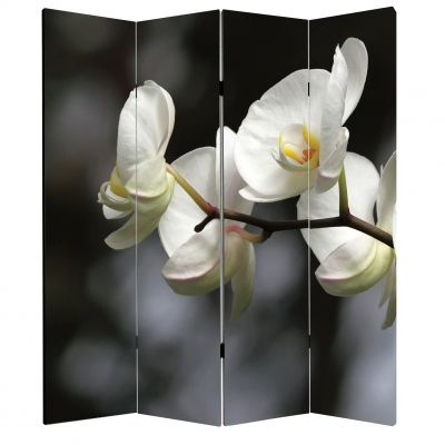 P0324 Decorative Screen Room divider White orchids on grey background (3,4,5 or 6 panels)